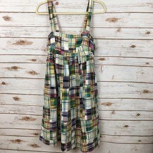 J. Crew Factory Madras Plaid Sleeveless Dress